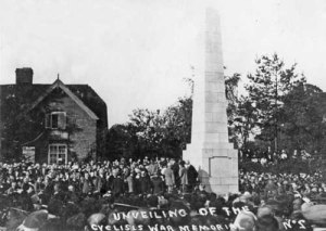 Image of unveiling of Cyclists War Memorial