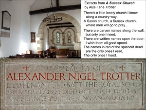 Memorial to Alexander Nigel Trotter at St Agatha's Church, Coates, Sussex
