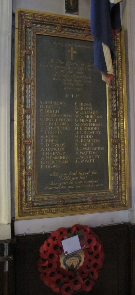 image of war memorial at Castle Bromwich Church