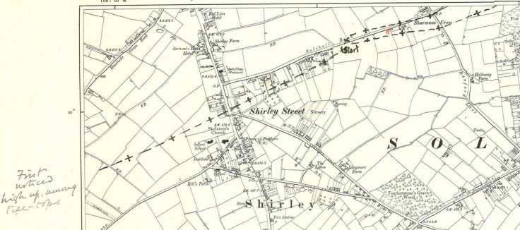 map of Solihull showing the path of the whirlwind