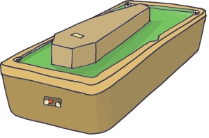 coffin on billiard table