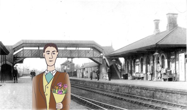 Cartoon of a man holding a bunch of flowers with an old photo of Solihull Station
