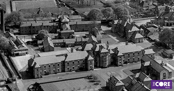 aerial photograph of workhouse buildings