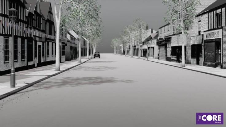 still image of 3D buildings lining a high street.